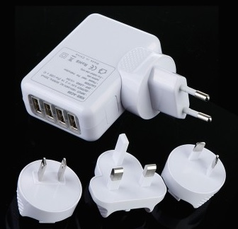 4 Port USB AC Adapter US/EU/UK/AU Plug Wall Charger